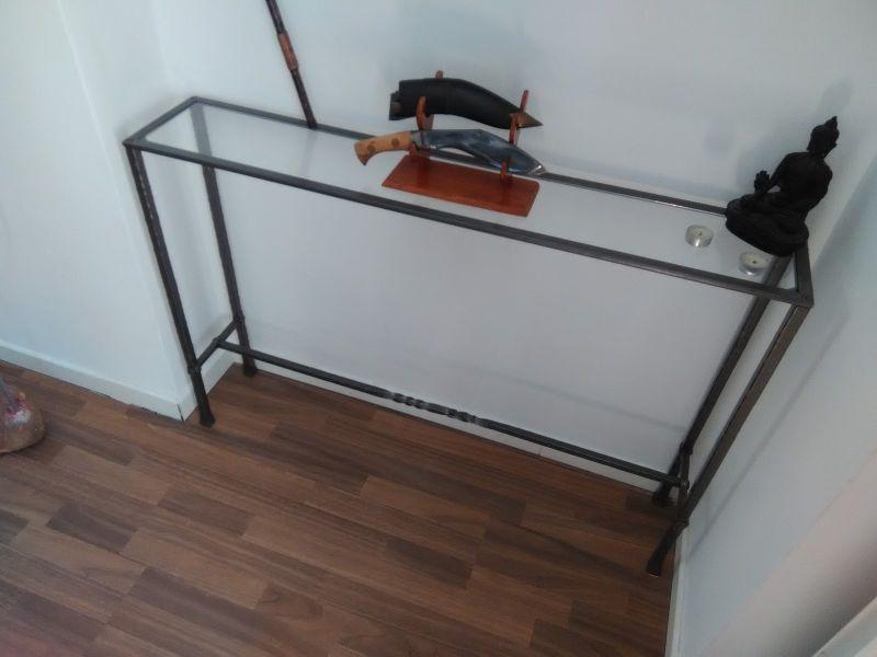 Mobilier int rieur en fer forg sur mesure marseille - Console fer forge et verre ...